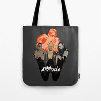wrestling Tote Bags featuring Attitude Wrestling  by RJ Artworks