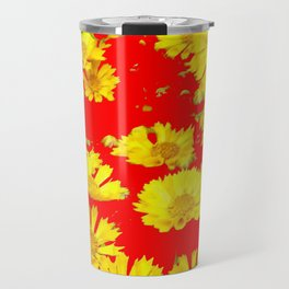 RED-YELLOW COREOPSIS FLOWERS ART Travel Mug