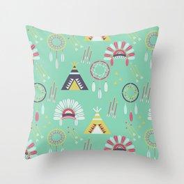 Indian Pattern Mint Throw Pillow