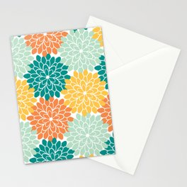 Petals in Orange, Mint, Apricot and Jade Stationery Cards