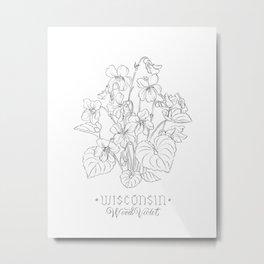 Wisconsin Sketch Metal Print
