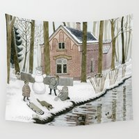 toddler Wall Tapestries featuring Children Building A Snowman by Yuliya