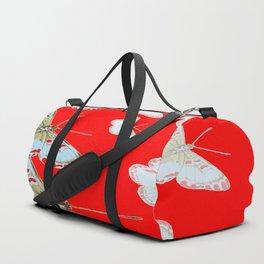 SURREAL RED & WHITE BUTTERFLIES MODERN  ART Duffle Bag