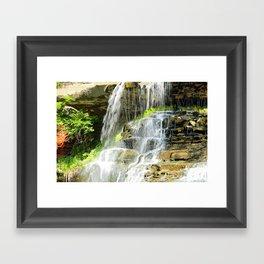 Misty Fountain Waterfall Framed Art Print