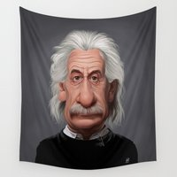 einstein Wall Tapestries featuring Celebrity Sunday ~ Albert Einstein by rob art | illustration
