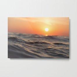 Sunset Ocean Wave Metal Print
