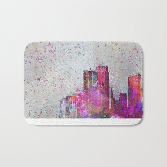 City of colors metropolis mixed media art Bath Mat