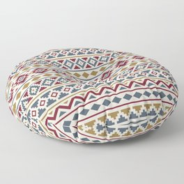 Aztec Essence Pattern II Red Blue Gold Cream Floor Pillow