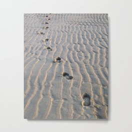 Footsteps in the sand - sunset beach - the Netherlands Metal Print