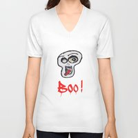 grafitti V-neck T-shirts featuring BOO! by LesImagesdeJon