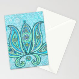 Lotus Blue Painting, Lotus drawing Illustration Stationery Cards
