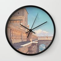 castle in the sky Wall Clocks featuring Castle In The Sky by ZBOY