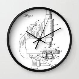 Microscope Patent - Scientist Art - Black And White Wall Clock