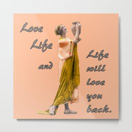 Motivational Quote with Vintage Image Metal Print