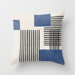 Stripes and Square Blue Composition - Abstract Throw Pillow