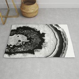 Gray Black White Agate with Black Silver Glitter #2 #gem #decor #art #society6 Rug
