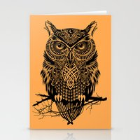 warrior Stationery Cards featuring Warrior Owl 2 by Rachel Caldwell