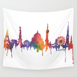 Rainbow Watercolour Monuments Wall Tapestry