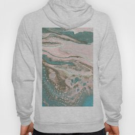 Fluid Art Acrylic Painting, Pour 20, Light Pink, Blue Gray & White Blended Color Hoody