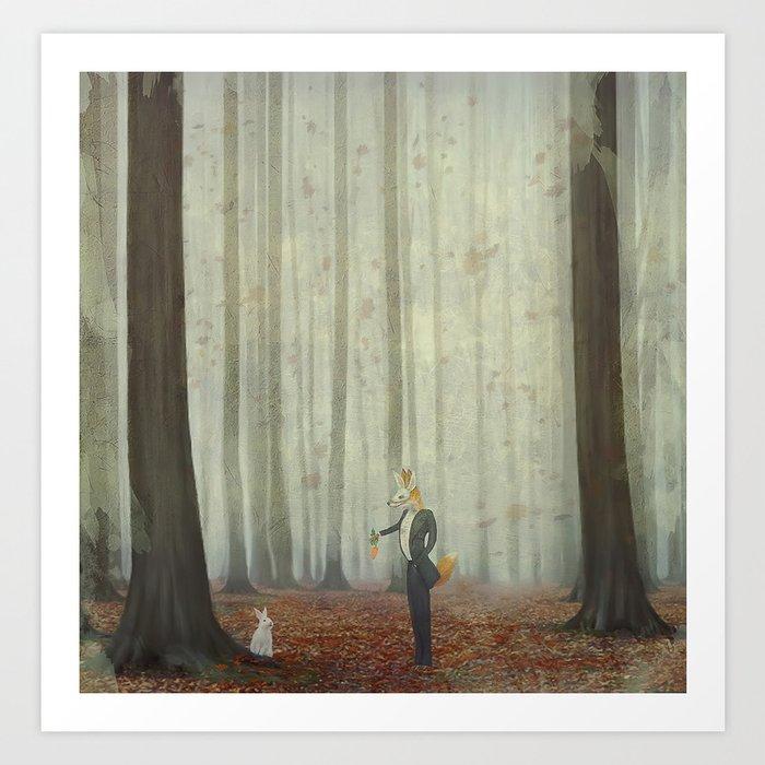 Fox and rabbit Art Print