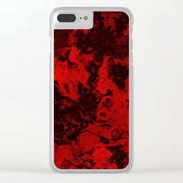 Marble-Red Clear iPhone Case