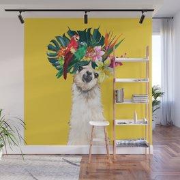 Aloha Hawaii Llama in Yellow Wall Mural