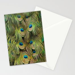 Peacock Iridescent Green Tail Feathers Stationery Cards