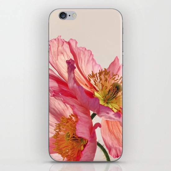 Like Light through Silk - peach / pink translucent poppy floral iPhone & iPod Skin