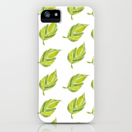 Green Leaf Water Color iPhone Case