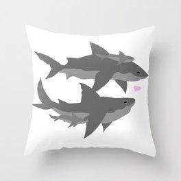 Shark Family Throw Pillow