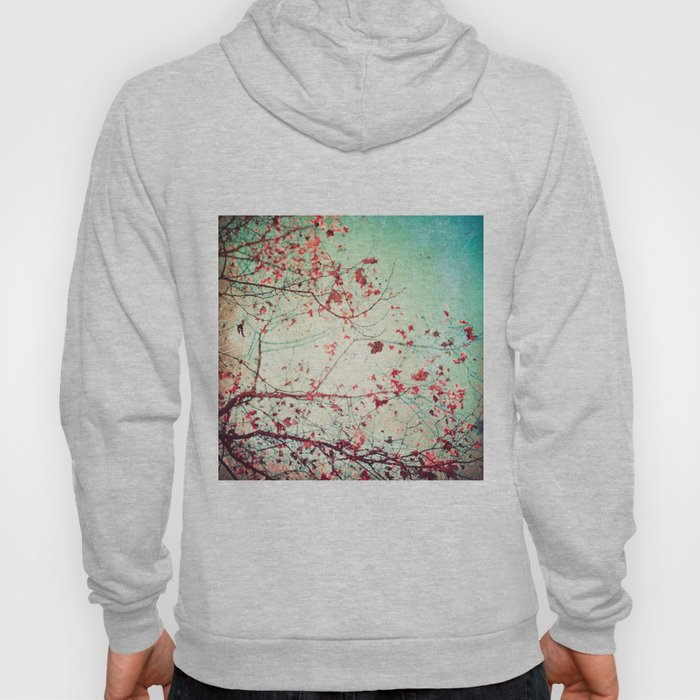 Even in Dreams, Atumn Fall, Textured Sky, Vintage Nature, Blue Pink Red  Hoody