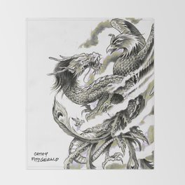 Dragon Phoenix Tattoo Art Print Throw Blanket