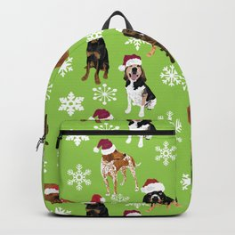 Santa hat coonhounds snowflakes green Backpack
