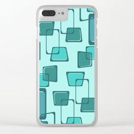 Skewed Squares Midcentury Pattern Turquoise Clear iPhone Case