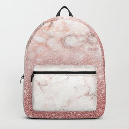 Elegant Faux Rose Gold Glitter White Marble Ombre Backpack
