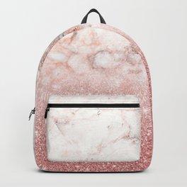 Elegant Faux Rose Gold Glitter White Marble Ombre Backpack