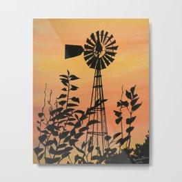 Evening Windmill Metal Print