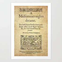 Shakespeare. A midsummer night's dream, 1600 Art Print