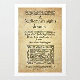 Shakespeare. A midsummer night's dream, 1600 Art Print