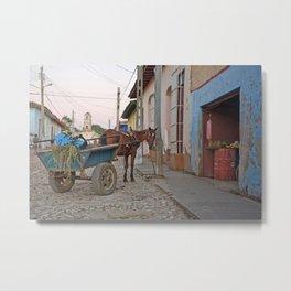 Horse Cart Cuba Trinidad Latin America Farmer Market Street Calle Cobblestone Tropical Island Metal Print