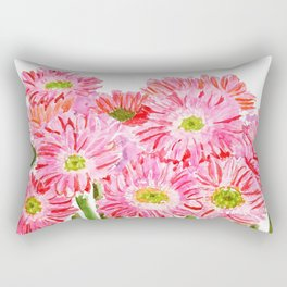 Pink Gerbera Daisy watercolor Rectangular Pillow