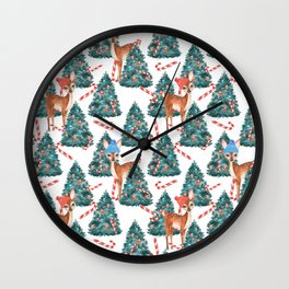 Christmas Fawns and Trees Wall Clock