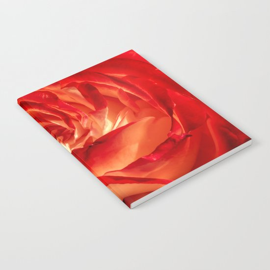 In fire - red and orange rose flower on #Society6 Notebook