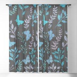 Watercolor flowers & butterflies II Sheer Curtain