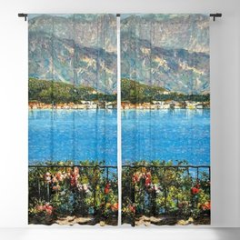 Lake Maggiore, View of Isola Bella Borromean Island landscape painting by Angelo Morbelli Blackout Curtain