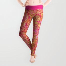 Hot Pink and Gold Baroque Floral Pattern Leggings