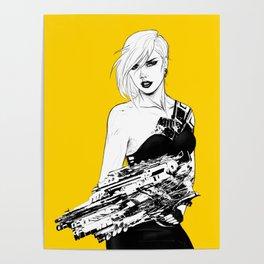 Badass girl with gun in comic pop art style Poster