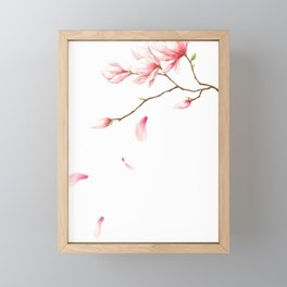 Pink flowers with petals falling Framed Mini Art Print