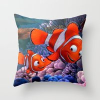 finding nemo Throw Pillows featuring Nemo by Max Jones