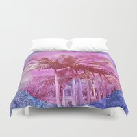palm trees Duvet Covers featuring Palm trees by Lara Gurney